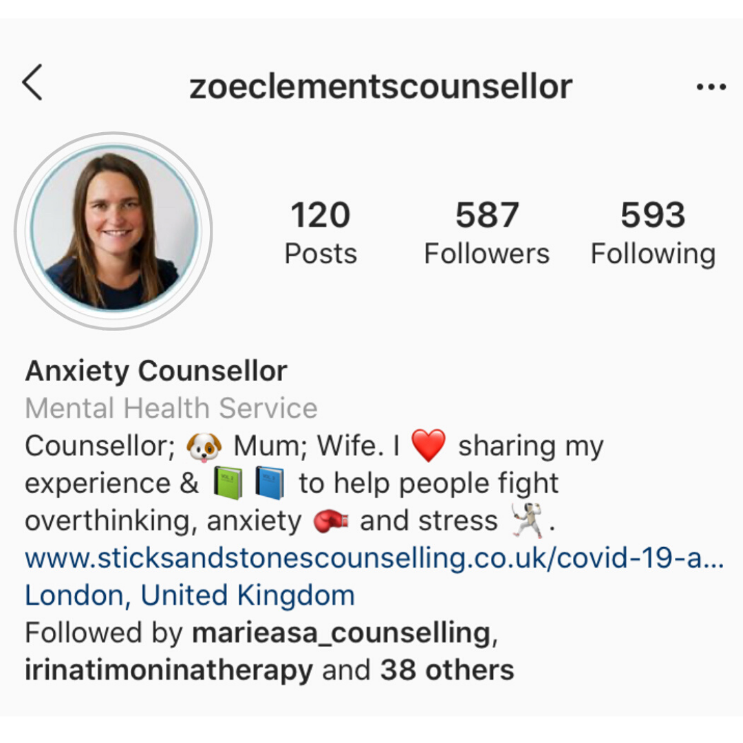 Zoe Clements, anxiety counsellor